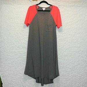 Lularoe Carly with orange/red sleeves